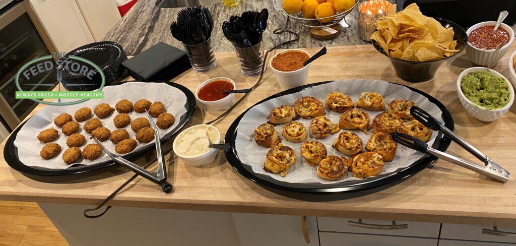 Crab Cakes, Chicken Parmesan Pinwheels